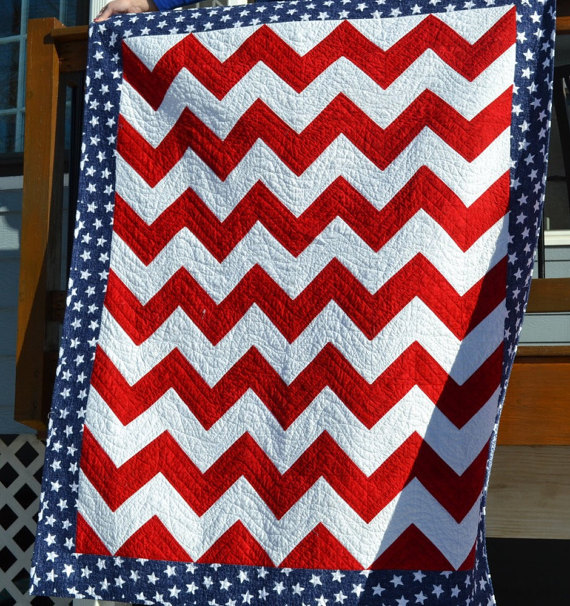 American Flag Quilt, Red and White Chevron With Star Border and Backing