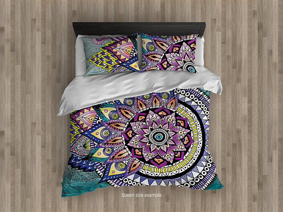Asymmetric MANDALA Duvet Cover. Hippie Bedding Set. Bohemian Beddings. King Queen Full Lace Mandalas Comforter Upgraded.