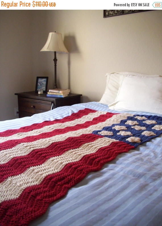 Crochet American Flag Afghan | 38x56 Ripple Flag Blanket | Antique Colored American Flag Throw