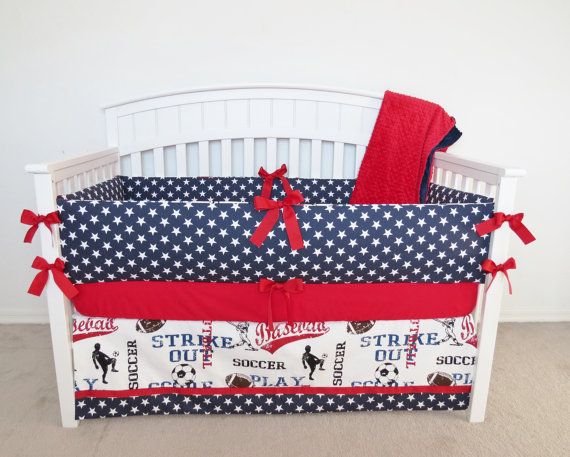 Stars crib bumper set, crib bumpers, navy, blue, stars, fourth of july, patriotic