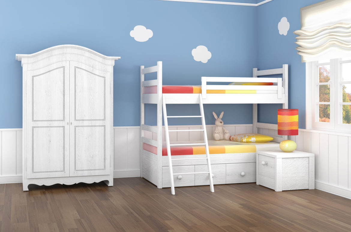 Kid's bedroom with blue walls and white clouds with white bunk bed and wardrobe