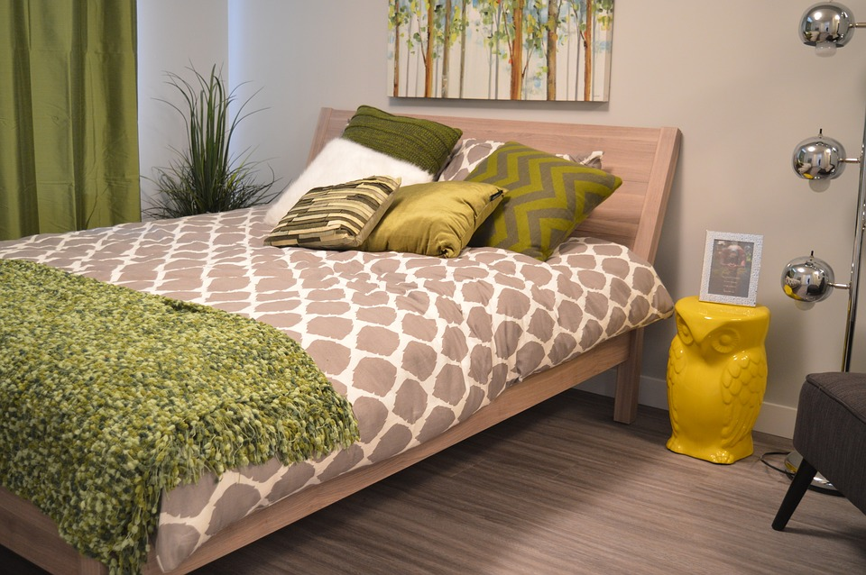 Modern Gray Bedroom with Yellow and Green Accents