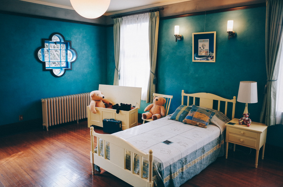 Kid's Bedroom with Blue Walls