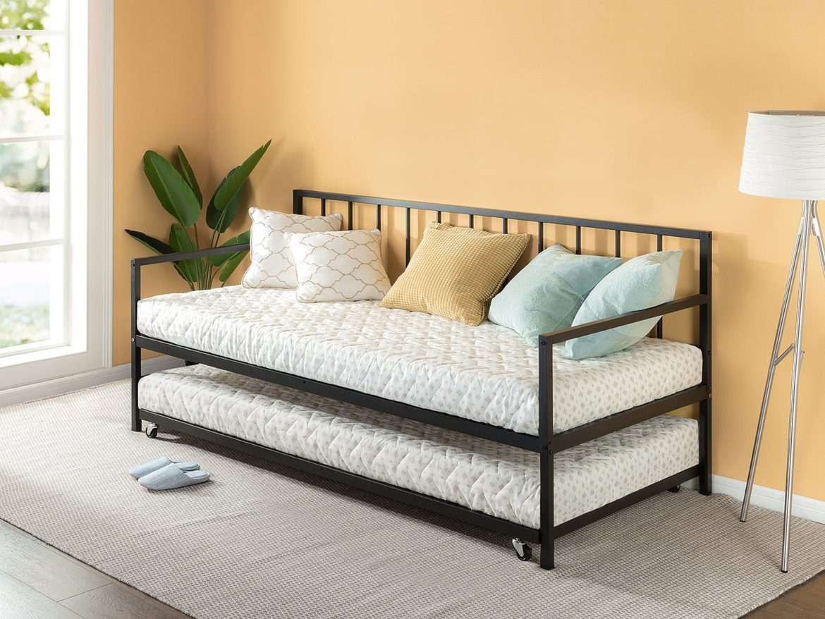Zinus Newport Twin Daybed and Trundle Set / Premium Steel Slat Support / Daybed and Roll Out Trundle Accommodate Twin Size Mattresses