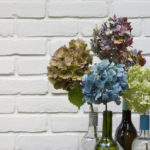 flowers in wine bottles