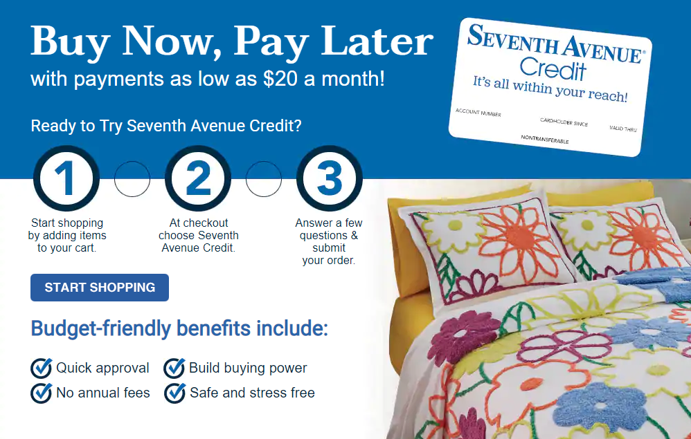 Seventh Avenue Buy Now, Pay Later with payments as low as $20 a month