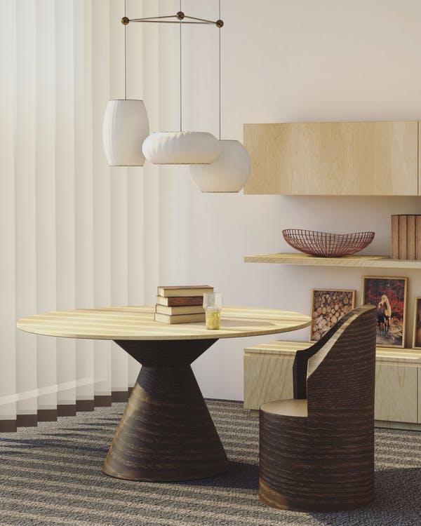 custom built wood table and chair