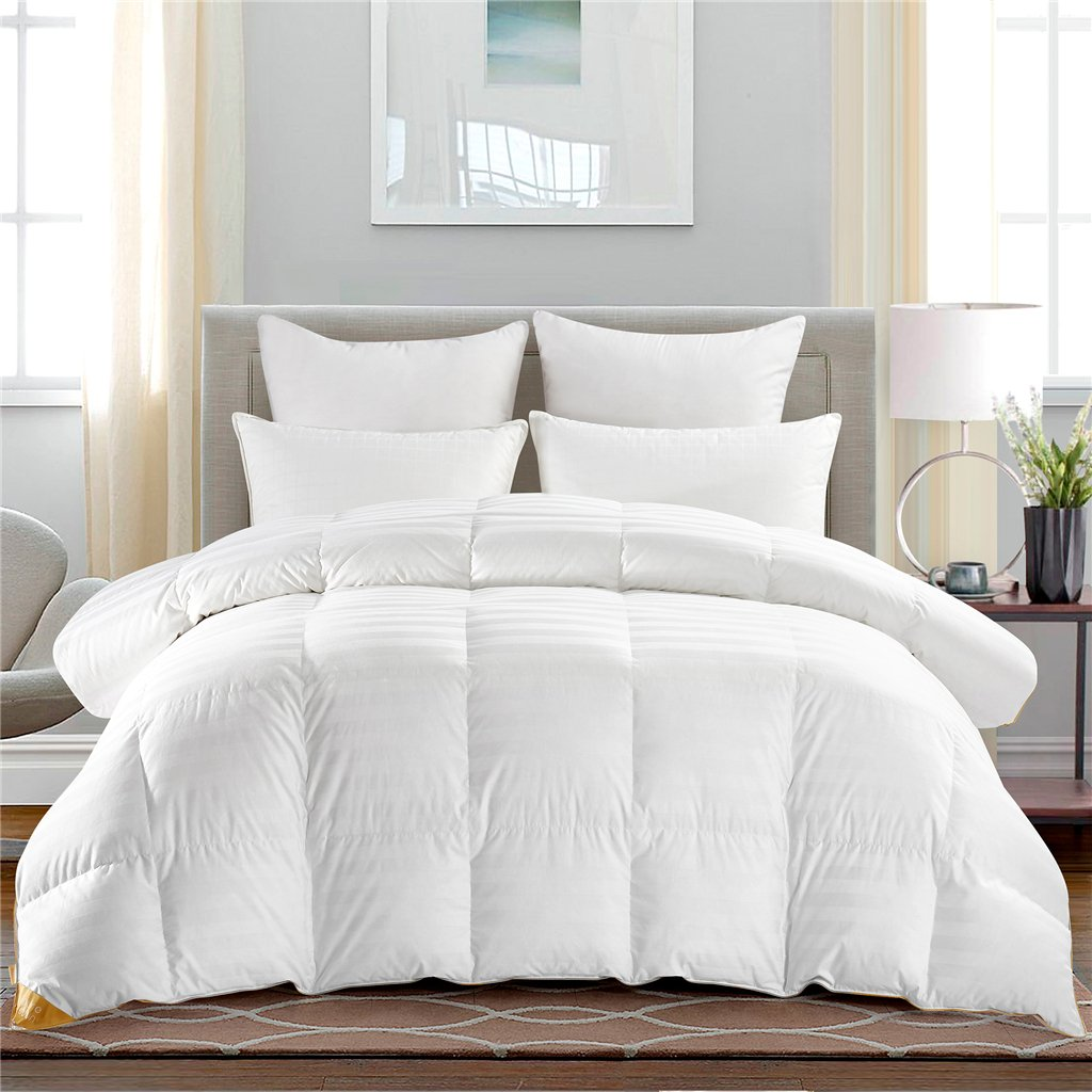 PUREDOWN PREMIUM GOOSE DOWN COMFORTER ALL SEASONS 600 FP 500 TC, 100% COTTON COVER, BAFFLED BOX