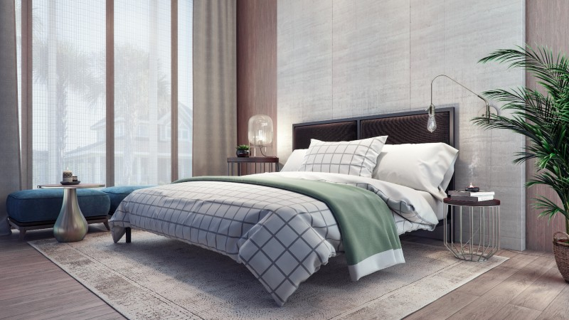 A comfortable bedroom contributes to quality sleep.